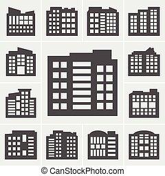 建物, ベクトル, イラスト, アイコン
