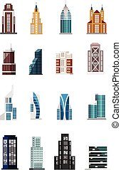 建物, ベクトル, セット, アイコン