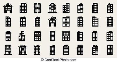 建物, ベクトル, セット, イラスト, アイコン