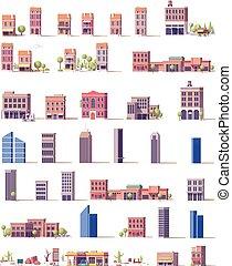建物, ベクトル, セット, 低い, poly