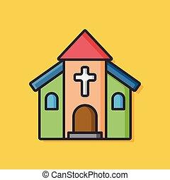 建物, ベクトル, 教会, アイコン
