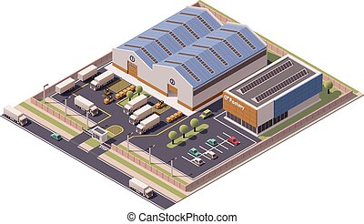 建物, ベクトル, 等大, アイコン, 工場