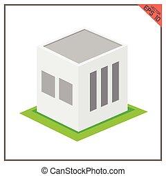 建物, ベクトル, 緑の背景, 倉庫, 白, アイコン, 3d