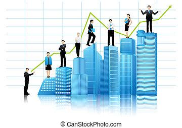 建物, ベクトル, businesspeople