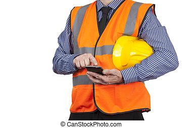 建物, ベスト, 彼の, 視界, 測量技師, smartphone, オレンジ, 使うこと