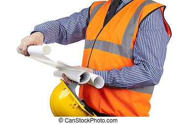 建物, ベスト, 点検, 視界, 測量技師, 建設, 図画, オレンジ