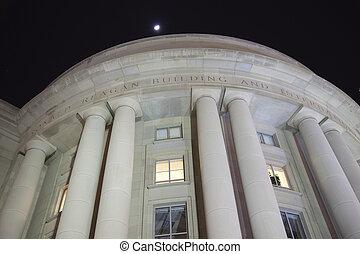 建物, ペンシルバニア, reagan, 夜, washington d.c., 取引しなさい, ronald, 星, ...