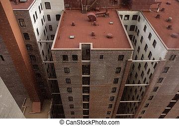 建物, ホテル, 赤, 屋根