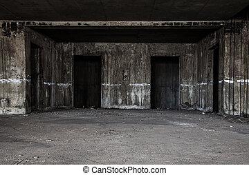 建物, ホール, 恐い, リフト, 捨てられた