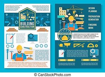 建物, ポスター, 建設, ベクトル, 家