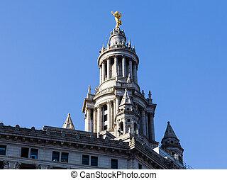建物, マンハッタン, 市の, 像, 細部