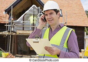 建物, モビール, サイト, 電話, 建築家, 使うこと