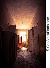 建物, ライト, 明るい, 捨てられた, 戸口