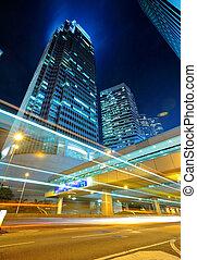 建物, ライト, 現代, 背景, 道