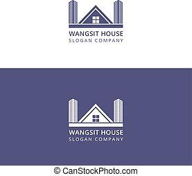 建物, ロゴ, デザイン, 手紙, w