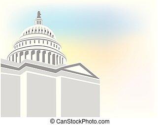 建物, ロゴ, ベクトル, 国会議事堂