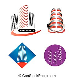 建物, ロゴ, 現代, セット