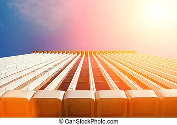 建物, 上に, 空, 背景
