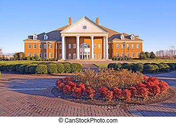 建物, 上に, a, 大学 キァンパス, 中に, ヴァージニア