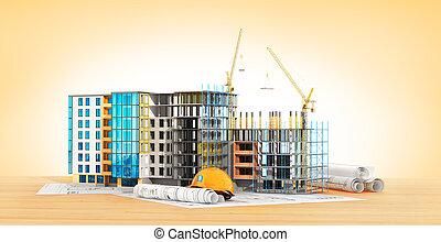 建物, 下に, construction., イラスト, 3d