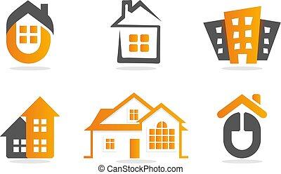 建物, 不動産, logotype., 家, set., ロゴ, collection., オレンジ, 家, アイコン