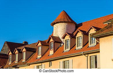 建物, 中に, ∥, 歴史的, 中心, の, montbeliard, -, フランス, doubs