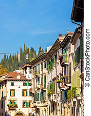 建物, 中に, ∥, 歴史的, 中心, の, verona, -, イタリア