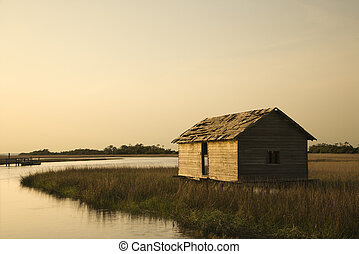 建物, 中に, 湿地, marsh.