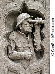 建物, 人, 古い, 彫刻