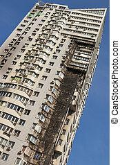 建物, 住宅の, 現代, 超高層ビル, 火
