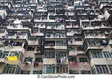建物, 住宅の, hong, 混雑した, kong