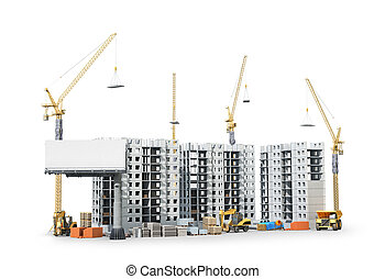 建物, 住宅の, materials., イラスト, 建設, 複合センター, 新しい, 領土, 3d