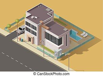 建物, 住宅庭園, アイコン, 自動車, 家, プール