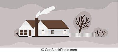 建物, 住居, fence., ∥あるいは∥, illustration., farmstead, タウンハウス, 郊外, 現代, ranch., scandic, スカンジナビア人, コテッジ, ベクトル, 木製である, ファサド, モノクローム, 住宅, style., 世帯