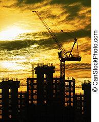 建物, 使用, セット, シルエット, ビジネス, スペース, 太陽, 産業, 空, 主題, 建設クレーン, コピー