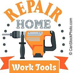 建物, 修理, ハンマー, 道具, ロータリー, バッジ