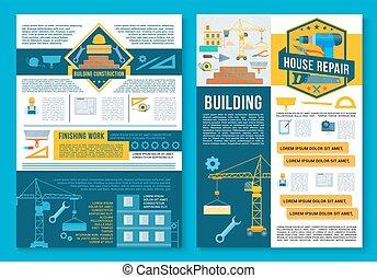 建物, 修理, ポスター, デザイン, 家の 構造