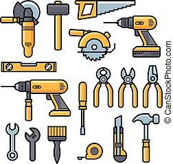 建物, 修理, ローラー, ハンマー, アイコン, 道具, -, 箱, 定規, キット, ねじ回し, 建設, 鋸, パテ, ドリル, ブラシ, ナイフ, 道具, ヘルメット, ファイル