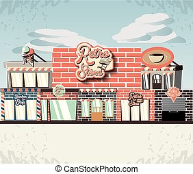 建物, 前部, レトロ, 店