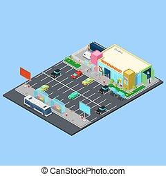 建物, 区域, 等大, city., バス, 駐車, 止まれ, スーパーマーケット, ベクトル, イラスト, places., 自転車