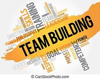 建物, 単語, 雲, チーム