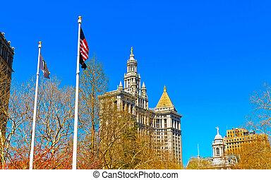 建物, 反射作用, マンハッタン, 市の, より低い