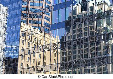 建物, 古い, オフィス, 窓, 現代, 反射