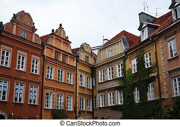 建物, 古い, ワルシャワ