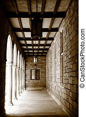 建物, 古い, 廊下