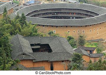 建物, 古い, 概観, tulou, 陶磁器, fujian