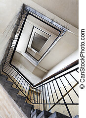 建物, 古い, 階段, 台無しにされる