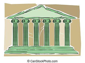 建物, 古代芸術, クリップ, 柱, 抽象的, ∥あるいは∥, ギリシャ語, ローマ人, イラスト, 寺院, コラム