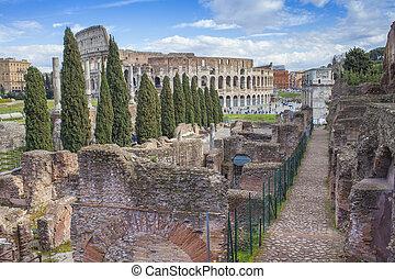 建物, 古代, イタリア, 都市, ローマ, colosseum