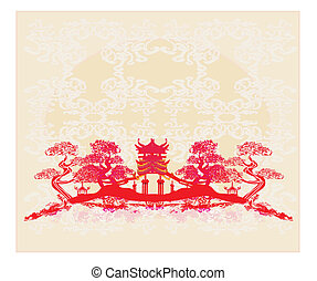 建物, 古代, 中国語, 抽象的, -, 風景